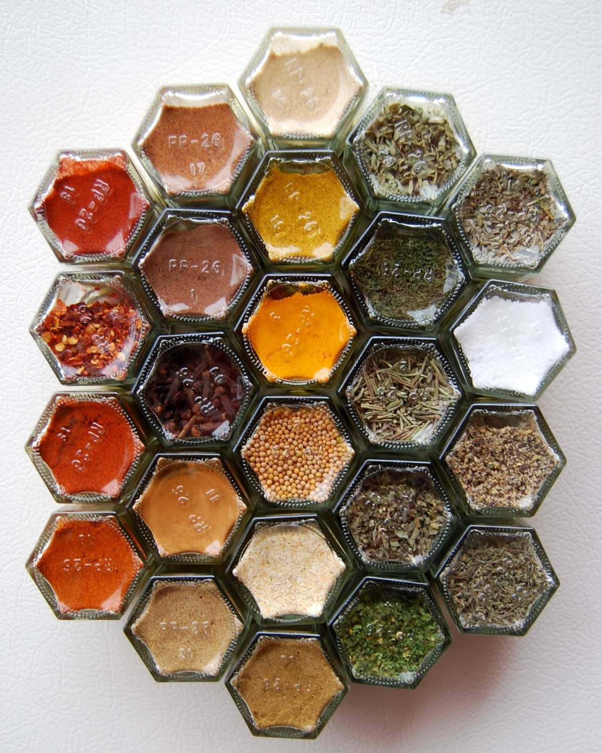 Hexagonal Glass Jars Spice Rack, filled with 24 essential spices.