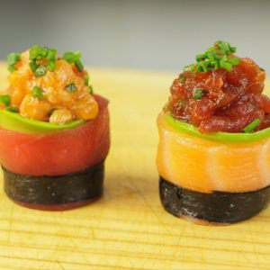 Spicy Tuna and Salmon Canape Sushi