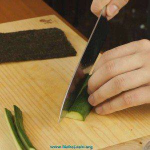 cutting cucumber for sushi