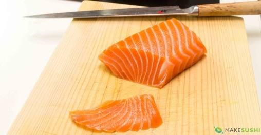 Salmon sashimi slices